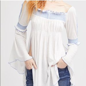 FREE PEOPLE IVORY TOP OFF SHOULDER BOHO TUNIC XS